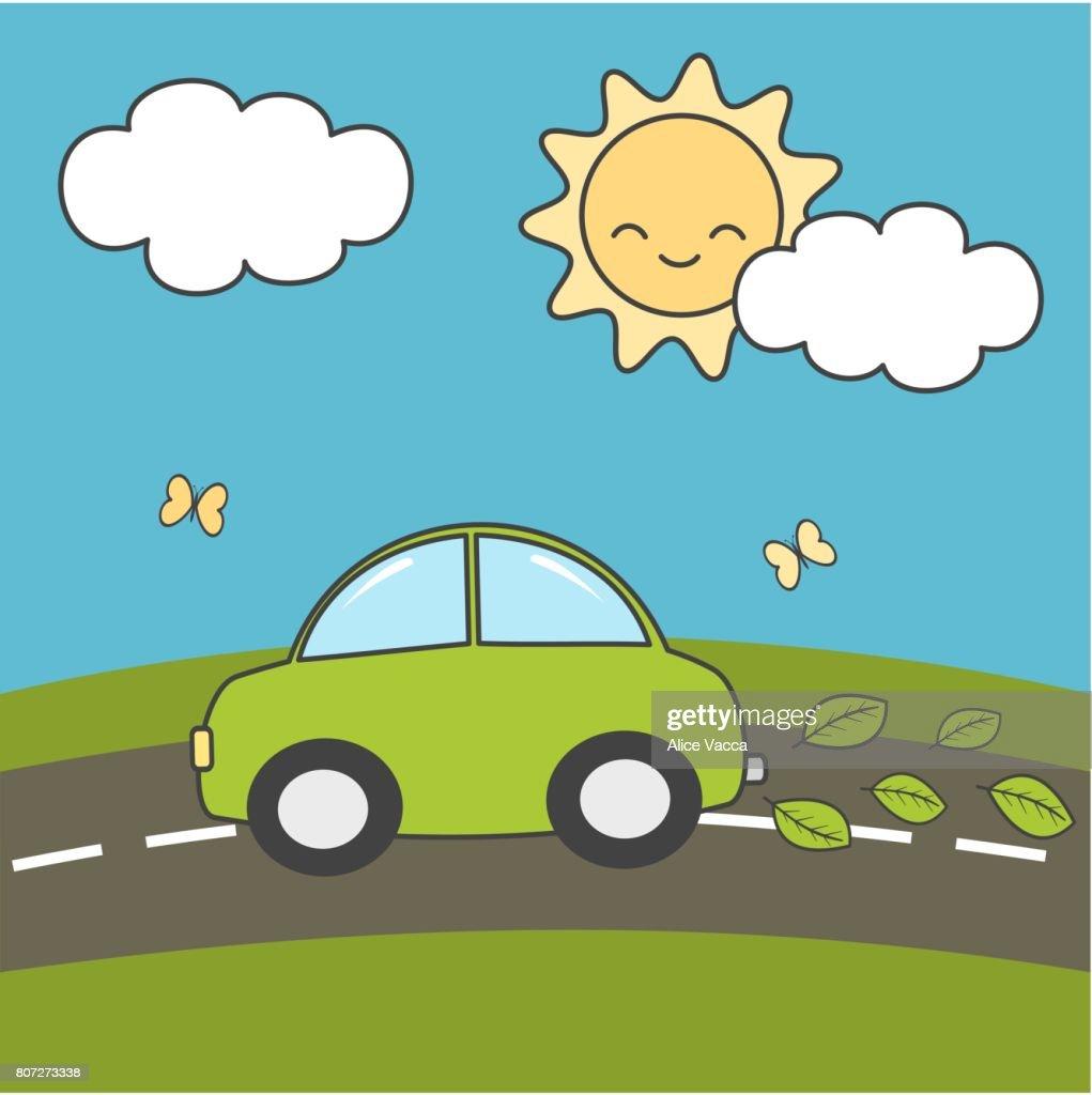 Cute Cartoon Eco Green Environment Car On A Beautiful