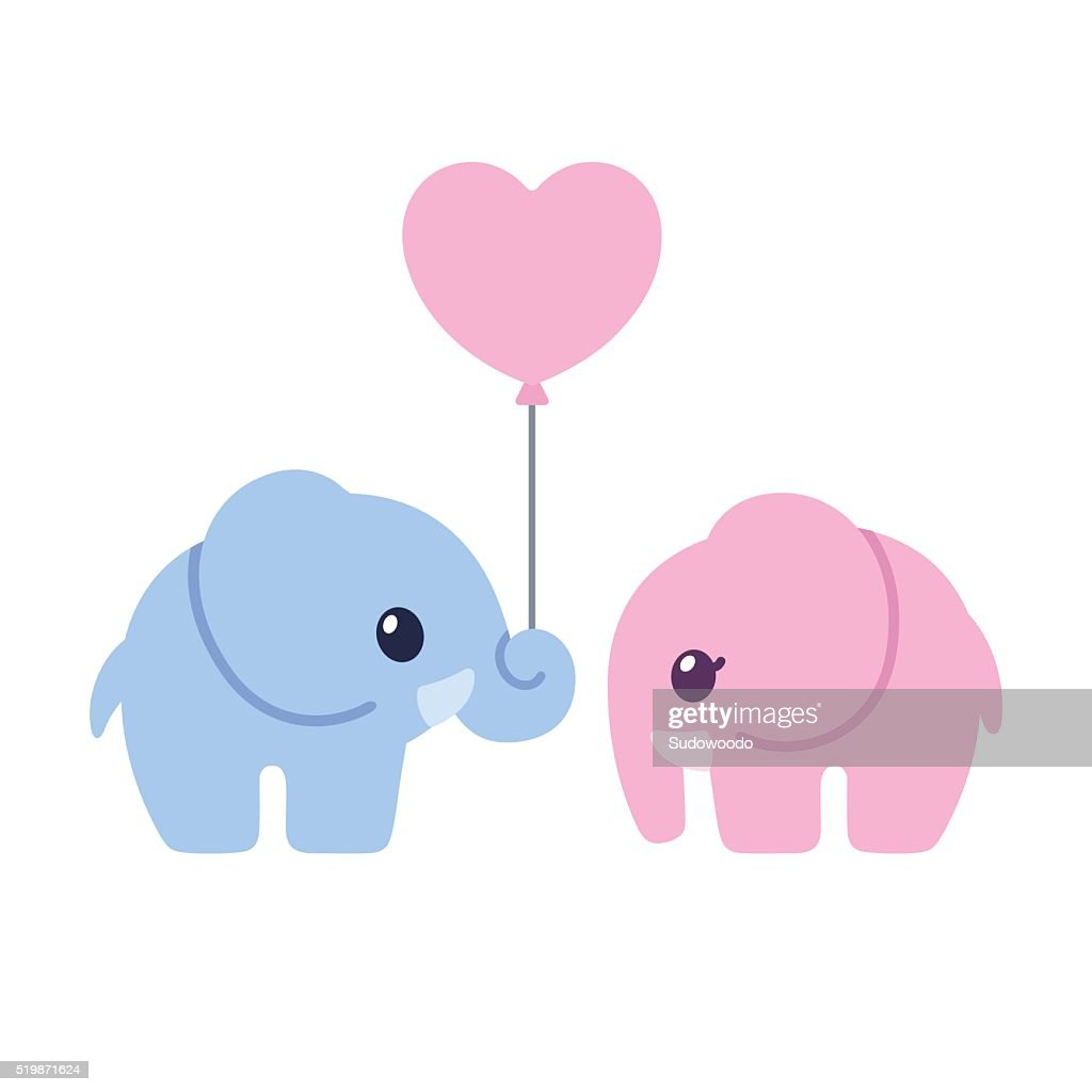 Cute cartoon elephant couple