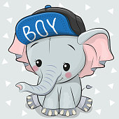 Cute Cartoon Elephant on a white background