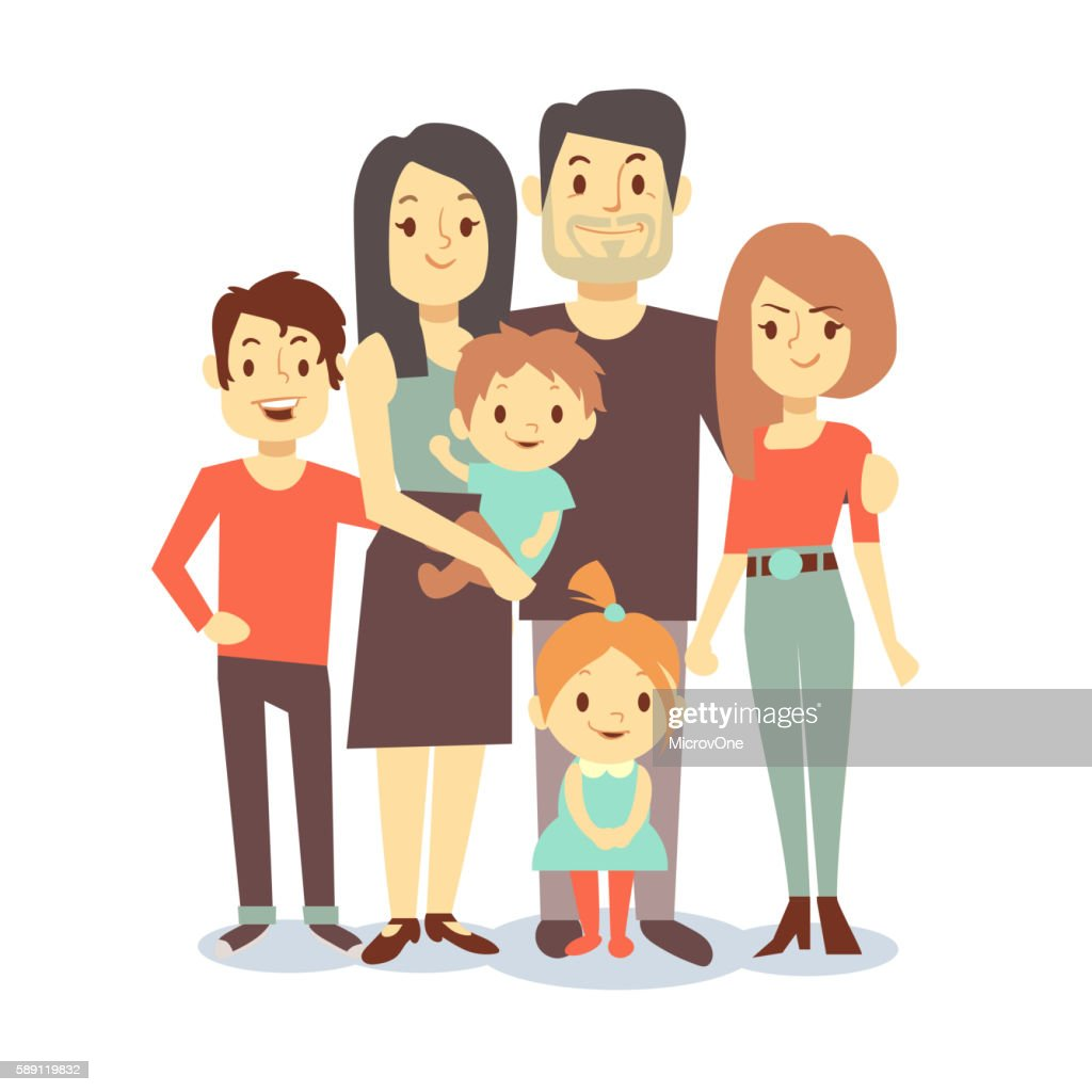Cute cartoon family vector characters in casual clothes