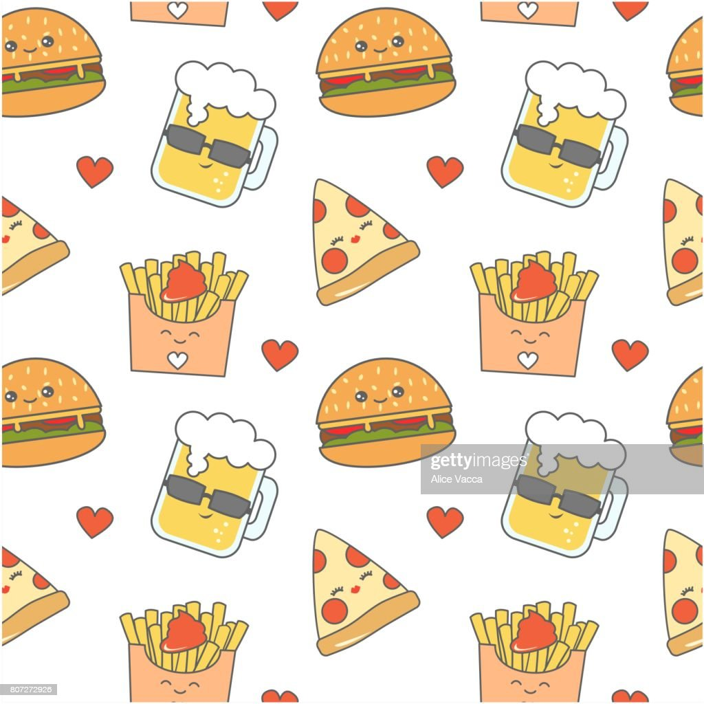 cute cartoon fast food seamless vector pattern background illustration with cheeseburger, pizza, glass of beer and french fries