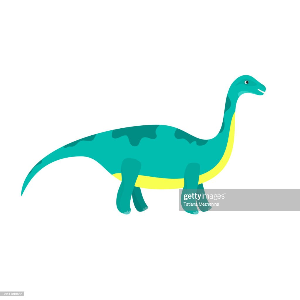 Cute cartoon flat blue diplodocus character