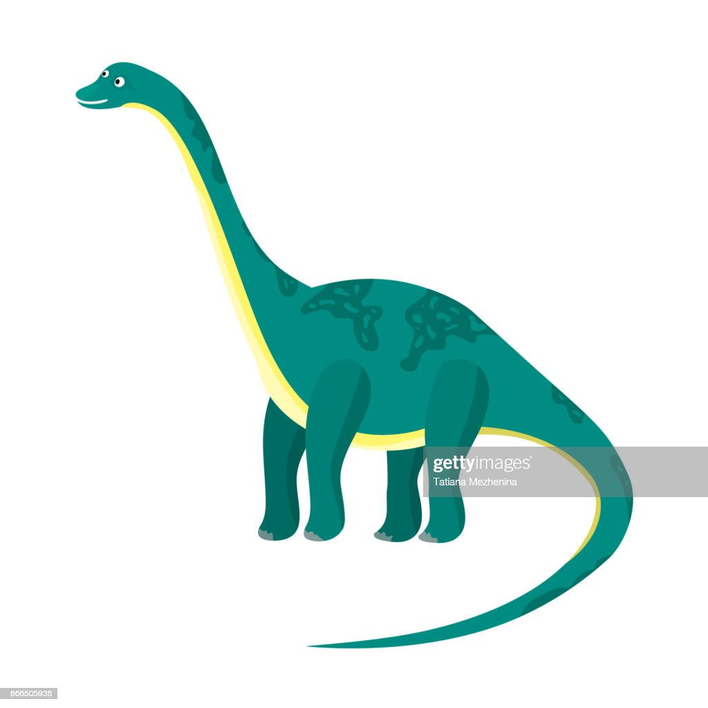 Cute cartoon flat blue or green high diplodocus dinosaur