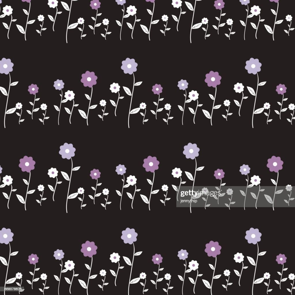 Cute Cartoon Flower Pattern On Black Background Stock Illustration