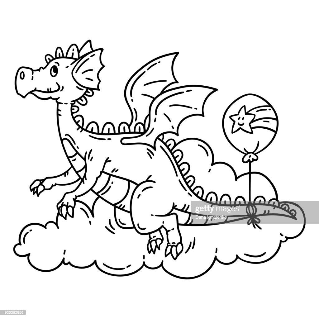 Cute cartoon flying dragon.