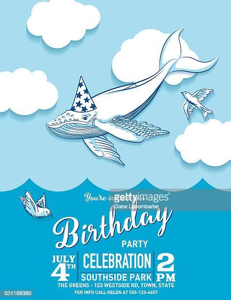 Baleia-voadora fofinho mulher Chapéu de Festa de Aniversário convite