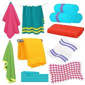 Cute cartoon folded vector towels set.