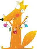 Cute cartoon fox with dried mushrooms on string