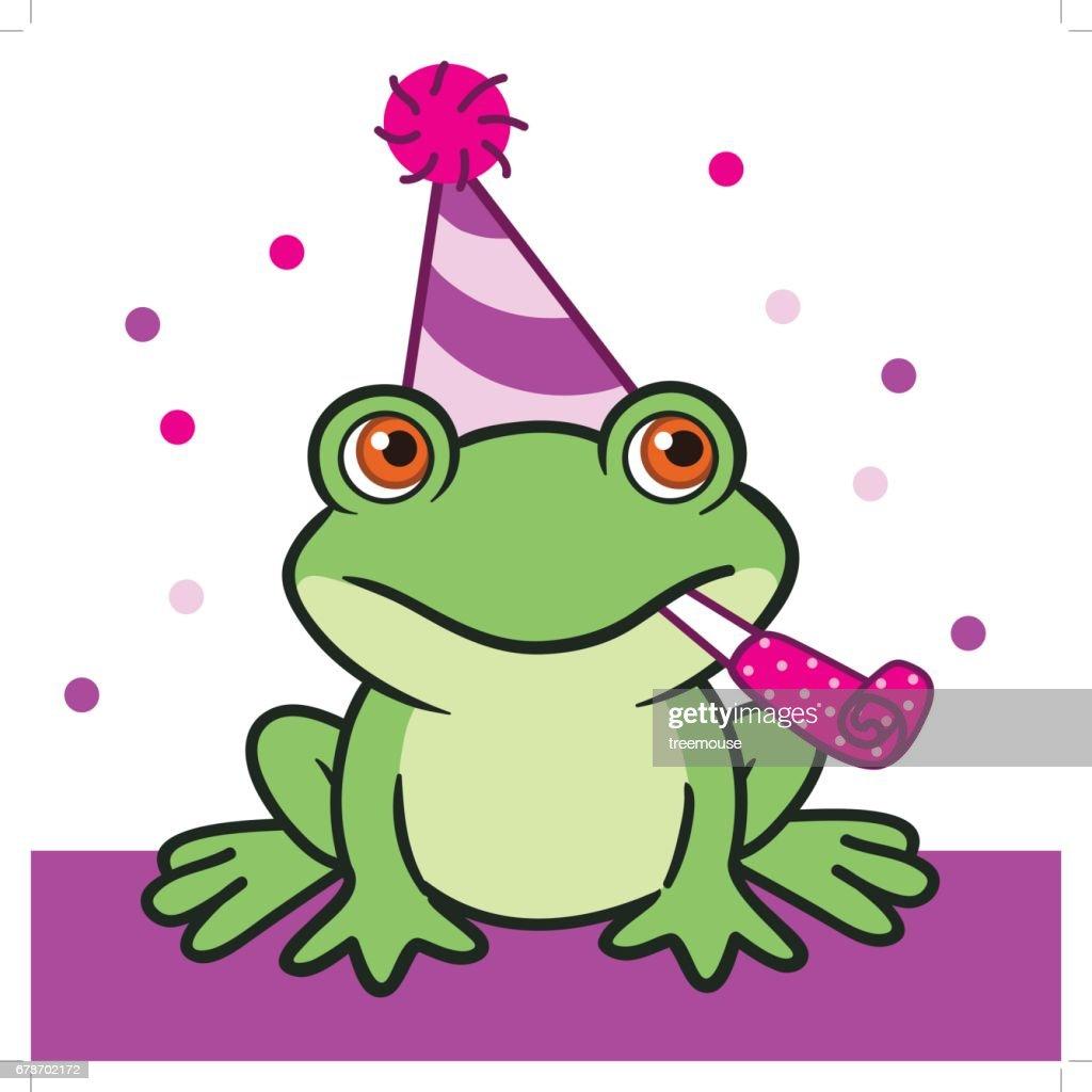 Cute cartoon frog in birthday hat