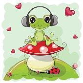 Cute cartoon Frog with headphones