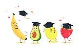 Cute cartoon fruits in graduation caps celebrating graduation.