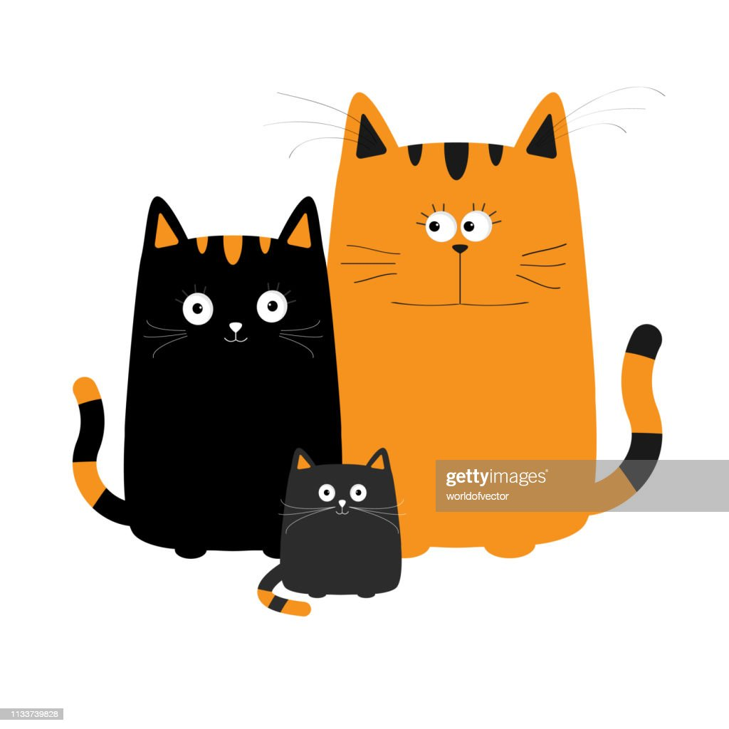 Cute cartoon funny cat family. Mother, father and baby boy kitten. Big mustache whisker. Funny character set. Happy family. Love greeting card. Flat design. White background. Isolated.