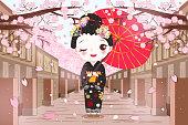 cute cartoon geisha
