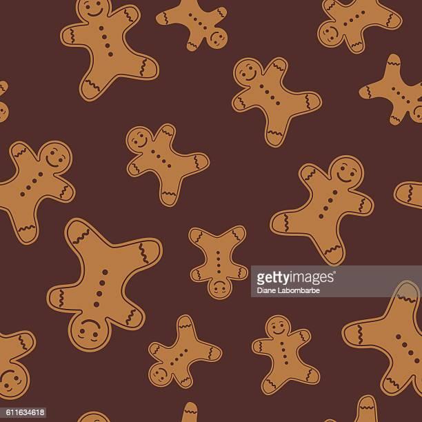 Cute Cartoon Gingerbread Man Cookie Seamless Pattern
