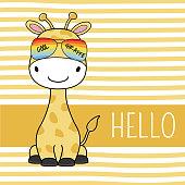 Cute cartoon giraffe in glossed.