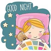 Cute Cartoon Girl in a bed