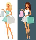 cute cartoon girl in summer dress, shopping