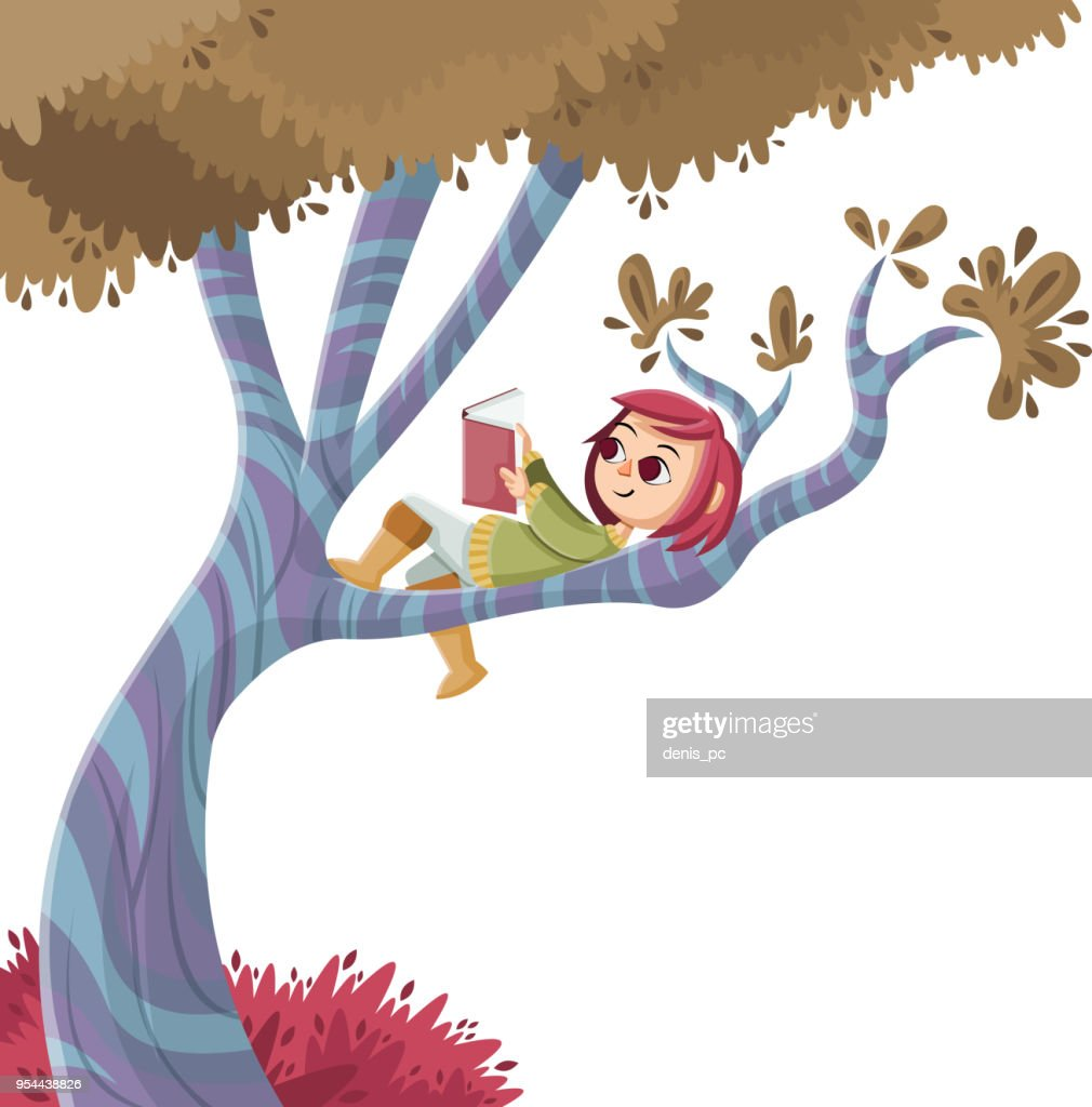 Cute cartoon girl reading book over a tree.