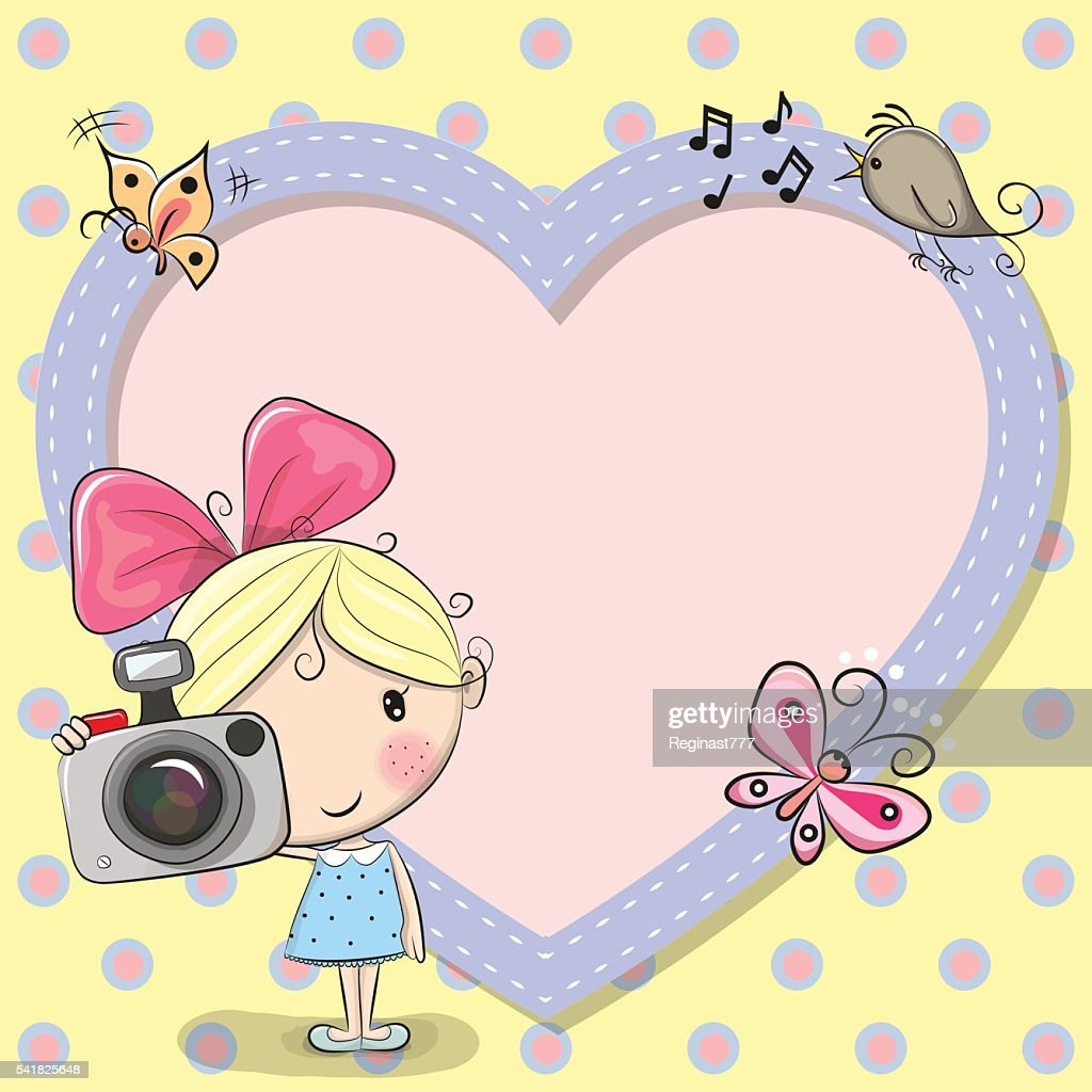 Cute cartoon Girl with a camera