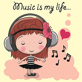 Cute cartoon Girl with headphones