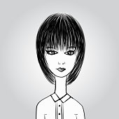 Cute cartoon girl, young Lady in black and white office clothes,  Business woman, User Icon, profile vector illustration, Painting template