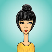 Cute cartoon girl, young Lady in Yellow clothes,  Business woman, User Icon, profile vector illustration, Painting template