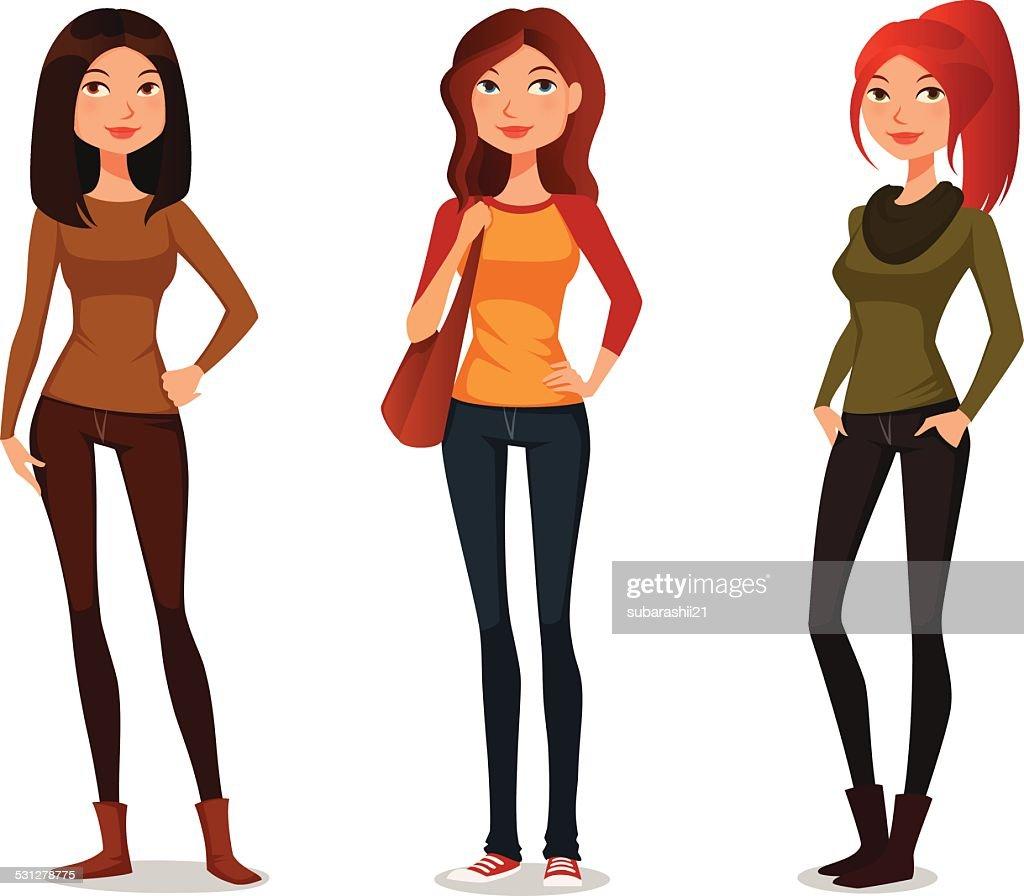 cute cartoon girls in autumn fashion