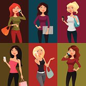 cute cartoon girls with mobile phones or laptop