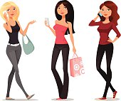 cute cartoon girls with mobile phones