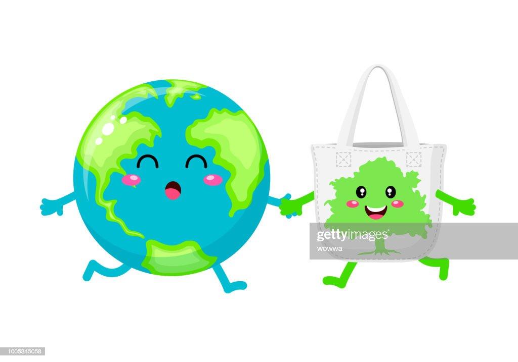 Cute cartoon globe character with cloth bag.
