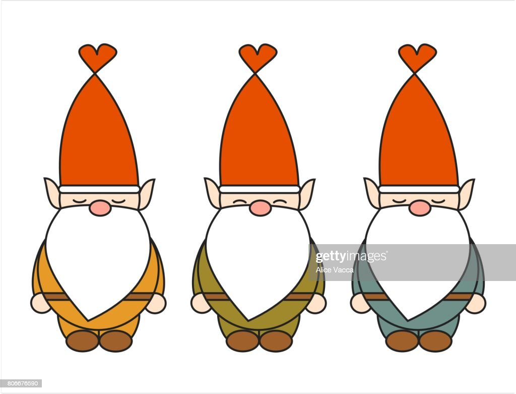 cute cartoon gnome vector character set