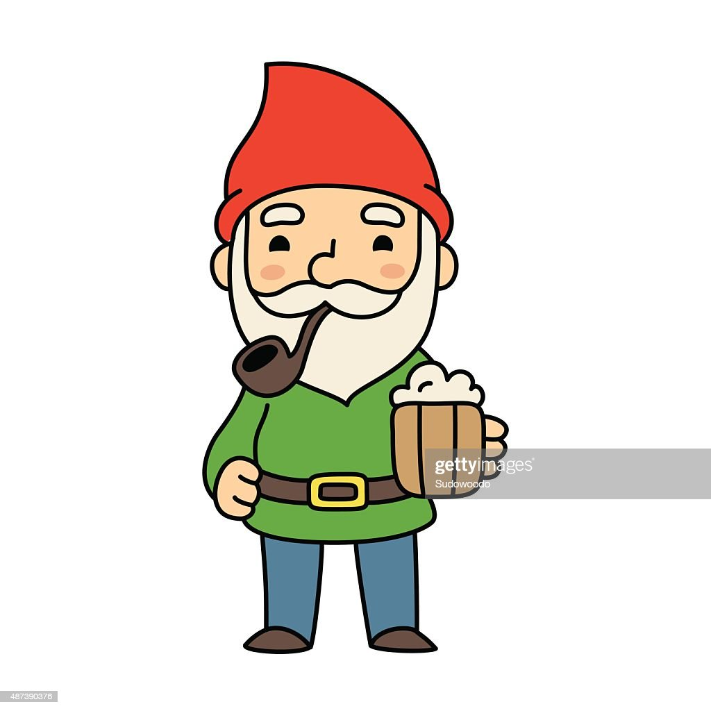 Cute cartoon gnome with beer