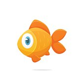 Cute cartoon goldfish vector illustration