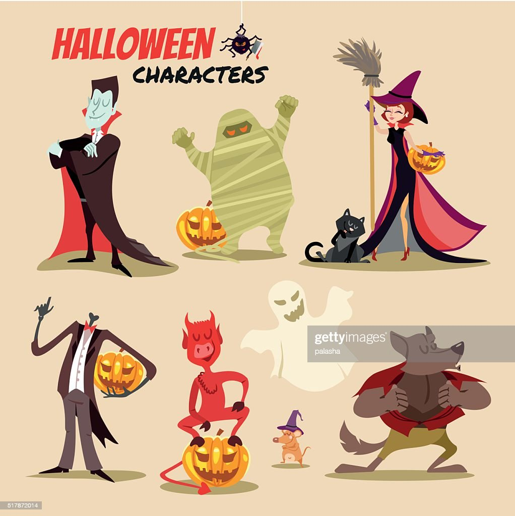 Cute cartoon halloween characters icon set.