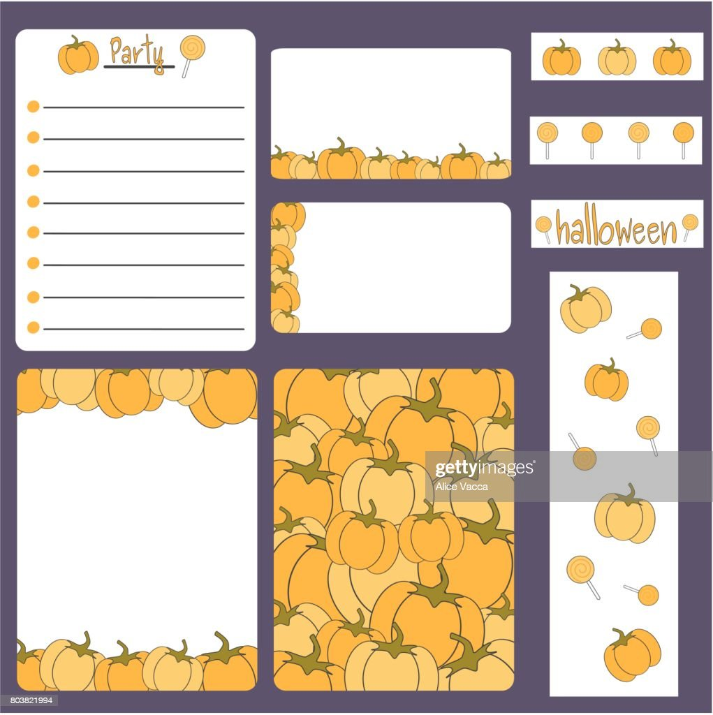cute cartoon halloween vector printable collection set with card, banner, note, frame, stickers and invitation
