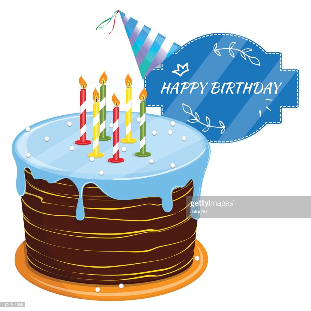 Cute Cartoon Happy Birthday Cake With Candles Blackboard With A