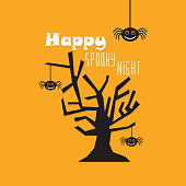 Cute cartoon Happy Spooky Night greeting card with a bare tree and hanging spiders icons on orange background