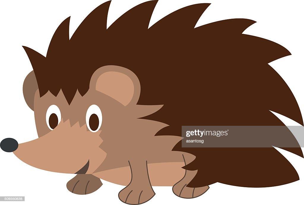 Cute cartoon hedgehog vector illustration