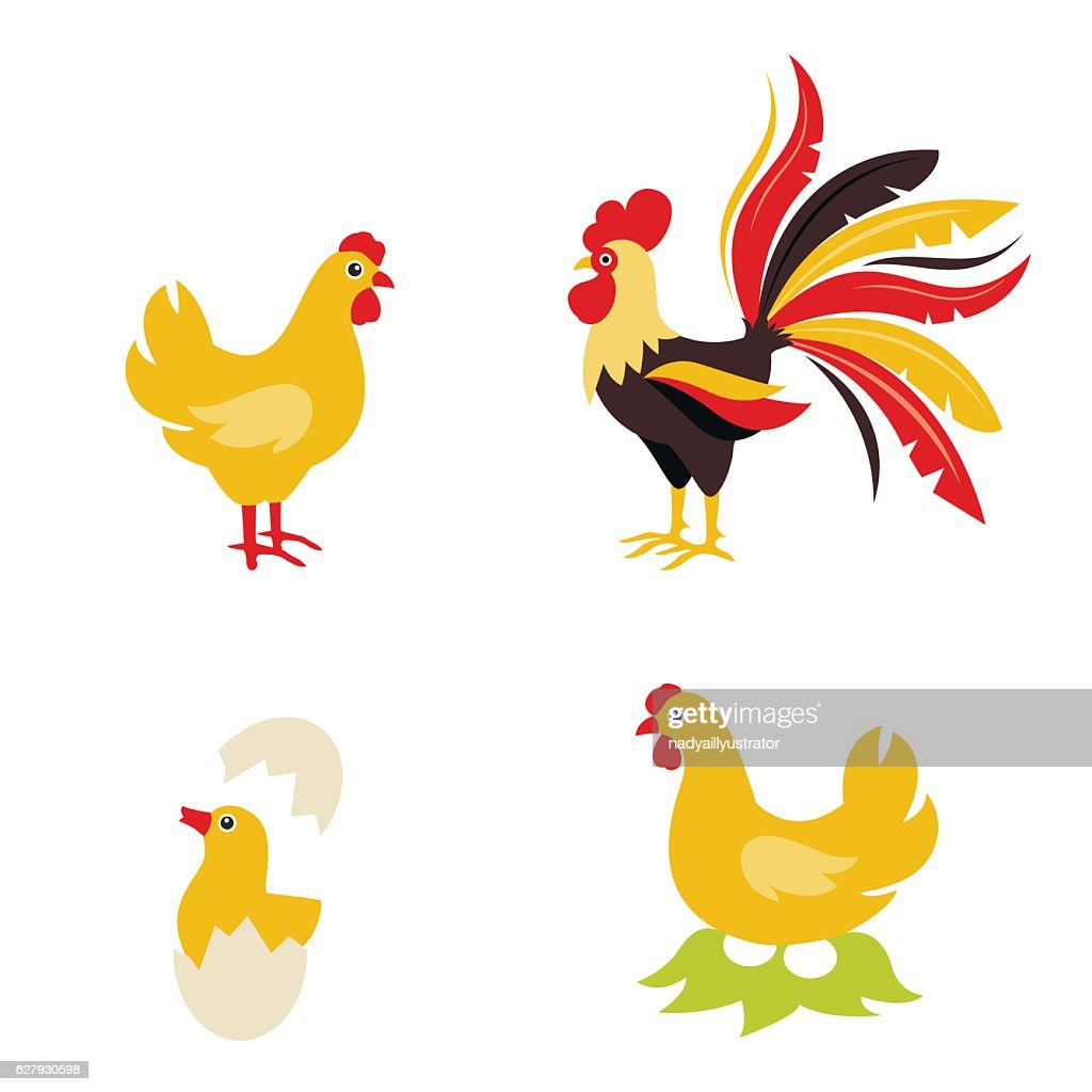 Cute Cartoon hen rooster and chicken baby.