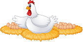 Cute cartoon hen with many eggs in the her nest