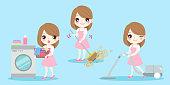 cute cartoon housewife