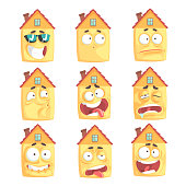 Cute cartoon humanized house with with many expressions set of vector Illustrations
