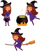 cute cartoon illustration of a small witch girl