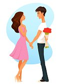 cute cartoon illustration of a young woman and man, in love
