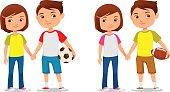 cute cartoon kids holding hands