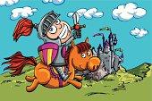 Cute cartoon knight on a horse