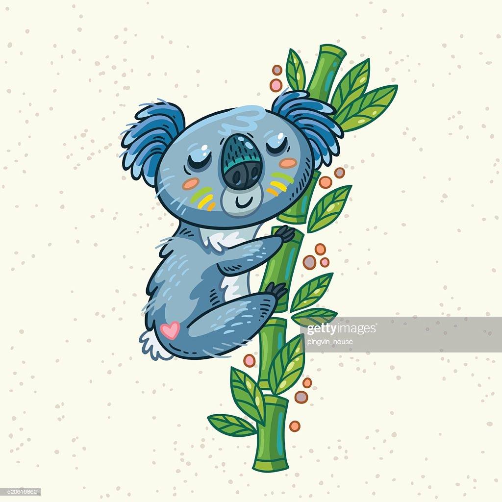 Cute cartoon koala on a tree. Vector illustration