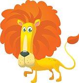 Cute cartoon lion character. Vector illustration