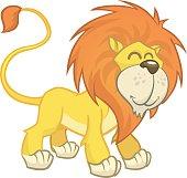 Cute cartoon lion. Vector isolated