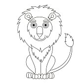Cute cartoon lion with fluffy mane and kind muzzle, coloring